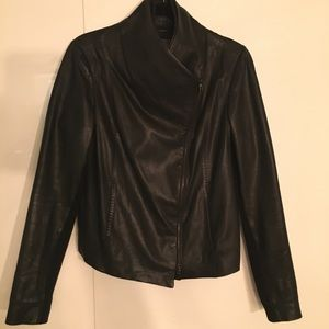 Vince Black Leather Scuba Jacket